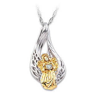 """""""On Angels' Wings"""" Diamond Remembrance Pendant Necklace"""