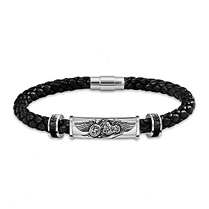"""""""Ride The Wind"""" Leather Bracelet With Sculpted Motorcycle"""
