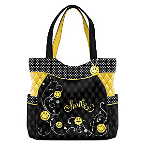 """""""Get Happy"""" Quilted Tote Bag With Smiling Face Charm"""