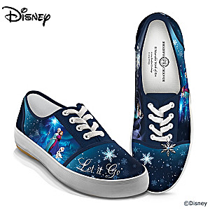 """Disney FROZEN """"Let It Go"""" Shoes With Elsa, Anna And Olaf Art"""