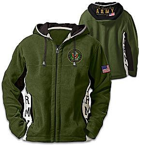 U.S. Army Hoodie: Mens Green Hooded Fleece Jacket