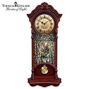 Thomas Kinkade Illuminated Stained Glass Large Wall Clock