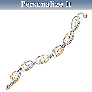 """Family Of Love"" Diamond Link Bracelet With Up To 6 Names"