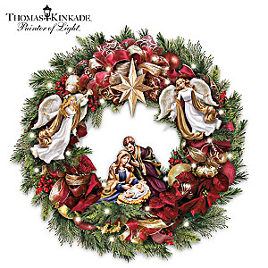 "Thomas Kinkade ""Season's Blessings"" Lighted Nativity Wreath"
