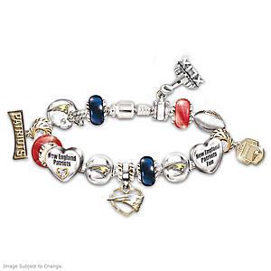 Patriots Super Bowl XLIX Swarovski Crystal Charm Bracelet