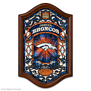 Denver Broncos Illuminated Stained-Glass Wall Decor
