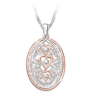 """Forever In Love"" Pendant Necklace With 23 Topaz Gemstones"