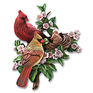 """Cozy Cardinals Springtime"" Wall Sculpture"