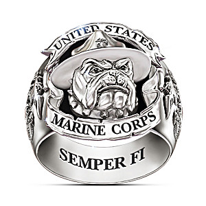 "USMC ""Devil Dogs"" Stainless Steel Ring With Black Onyx Inlay"