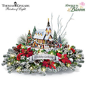 Thomas Kinkade Illuminated Holiday Centerpiece With Music