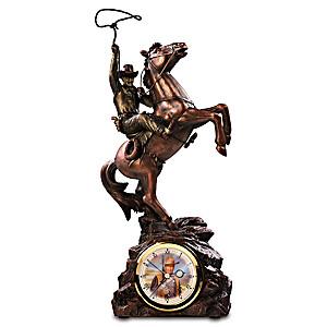 Timeless Legend Sculptural Clock Of John Wayne On Horseback