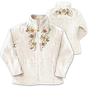 "Lena Liu ""Sunflower Splendor"" Embroidered Fleece Jacket"