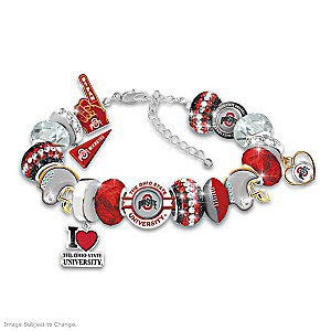 """Fashionable Fan"" Buckeyes Charm Bracelet With 18 Charms"