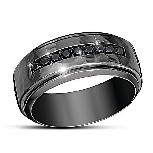 """Need For Speed"" Black Sapphire Men's Stainless Steel Ring"