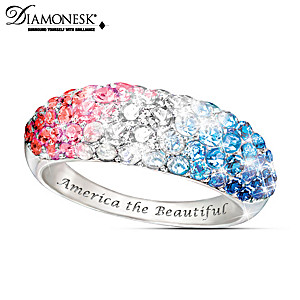 America The Beautiful Red White And Blue Diamonesk® Ring