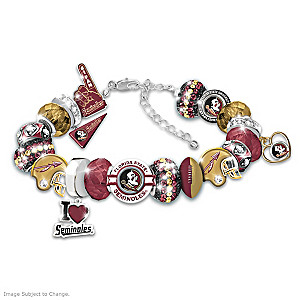 """Fashionable Fan"" Seminoles Charm Bracelet With 18 Charms"