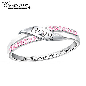 "Breast Cancer Awareness ""Hope"" Diamonesk Women's Ring"
