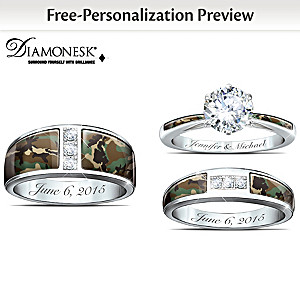 camo his and hers personalized diamonesk wedding ring set - Camo Wedding Ring Set