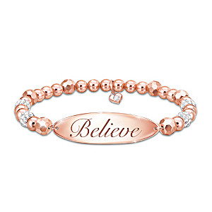 """Believe"" Engraved Copper Beaded Bracelet With Crystal Beads"