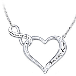 """My Sister, My Friend"" Engraved Heart Necklace With Crystals"