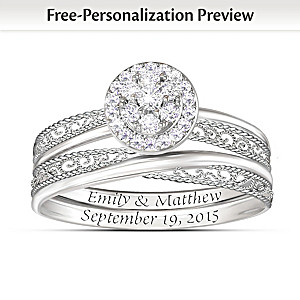 "Personalized ""Love's Embrace"" Diamond Bridal Ring Set"