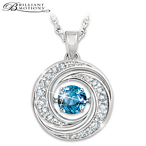 """Swirls Of Sparkle"" Brilliant Motions Topaz Pendant Necklace"