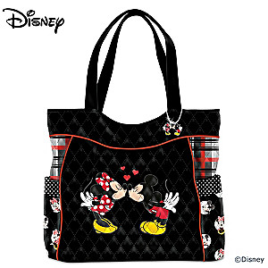 """Mickey And Minnie Love Story"" Quilted Tote Bag With Charm"