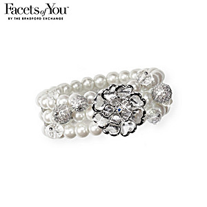 Dream Come True Pearlescent Bead & Crystal Stretch Bracelet