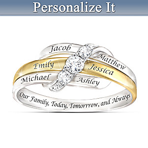 """Our Family Forever"" Personalized White Topaz Ring"