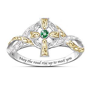 """Irish Blessing"" Emerald And Diamond Celtic Cross Ring"