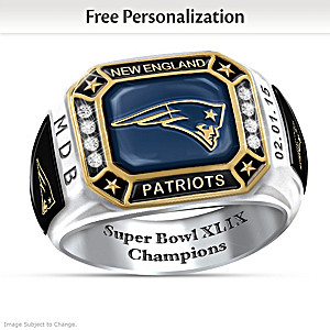 Super Bowl XLIX Champions Patriots Personalized Men's Ring