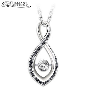 "Brilliant Motions ""Midnight Magic"" Diamond Pendant Necklace"