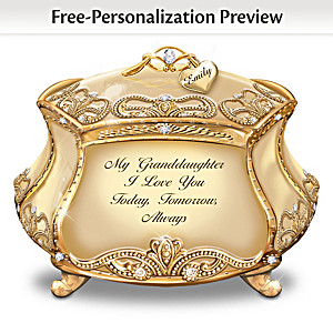 Granddaughter, I Love You Music Box With Name-Engraved Charm