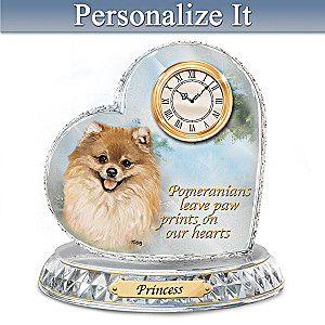 Linda Picken Pomeranian Crystal Clock With Your Dog's Name