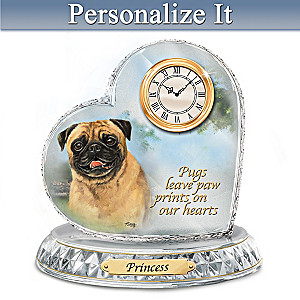 Linda Picken Pug Crystal Clock With Your Dog's Name