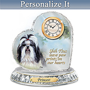 Linda Picken Shih Tzu Crystal Clock With Your Dog's Name