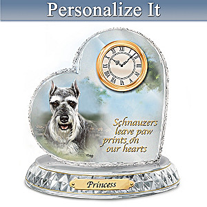 Linda Picken Schnauzer Crystal Clock With Your Dog's Name