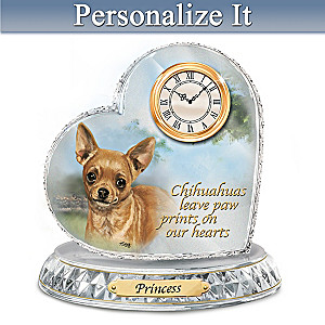 Linda Picken Chihuahua Crystal Clock With Your Dog's Name