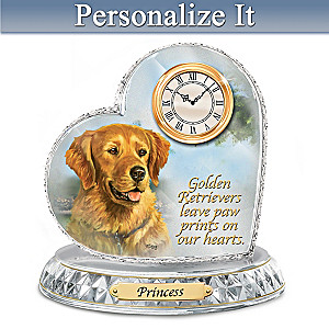 Linda Picken Golden Retriever Clock With Your Dog's Name