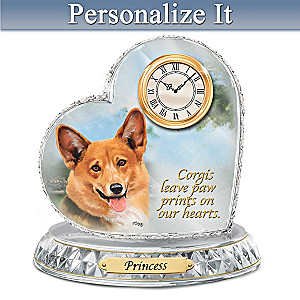 Linda Picken Corgi Clock With Your Dog's Name