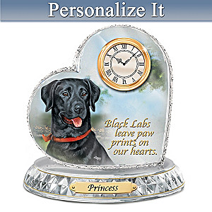 Linda Picken Black Labrador Clock With Your Dog's Name