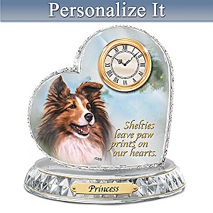 Linda Picken Sheltie Clock With Your Dog's Name