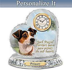 Linda Picken Jack Russell Terrier Crystal Clock With Your Dog's Name