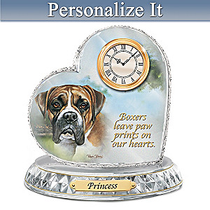 Linda Picken Boxer Crystal Clock With Your Dog's Name