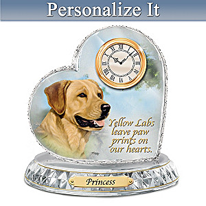 Linda Picken Yellow Lab Crystal Clock With Your Dog's Name