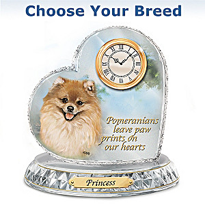 Dog Art Crystal Clock With Your Dog's Name: Choose A Breed