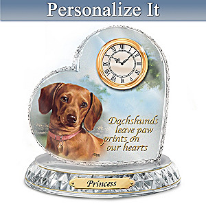 Linda Picken Dachshund Crystal Clock With Your Dog's Name