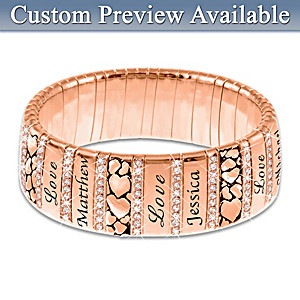 """Mom's Family Of Love"" Personalized Copper Bracelet"