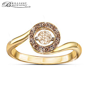 "Brilliant Motions ""Indulgence"" Diamond 18K Gold-Plated Ring"