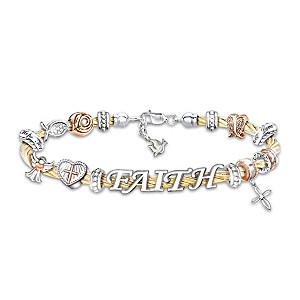 """Faith Is A Blessing"" Beaded Cable Bracelet"